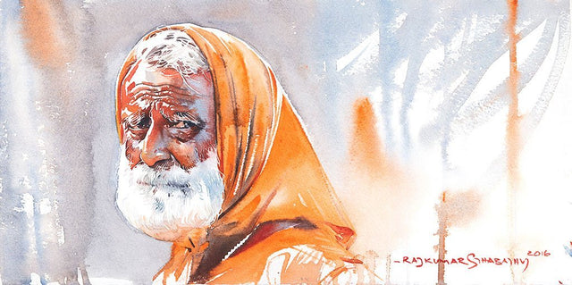 Portrait Series 98|R. Rajkumar Sthabathy- Water Color on Paper, 2016, 7.5 x 15 inches