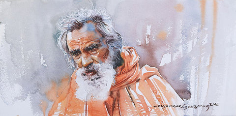 Portrait Series 99|R. Rajkumar Sthabathy- Water Color on Paper, 2016, 7.5 x 15 inches