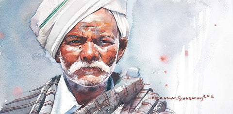 Portrait Series 100|R. Rajkumar Sthabathy- Water Color on Paper, 2016, 7.5 x 15 inches