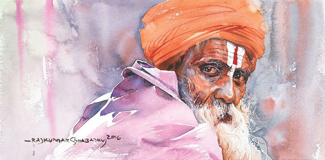 Portrait Series 101|R. Rajkumar Sthabathy- Water Color on Paper, 2016, 7.5 x 15 inches