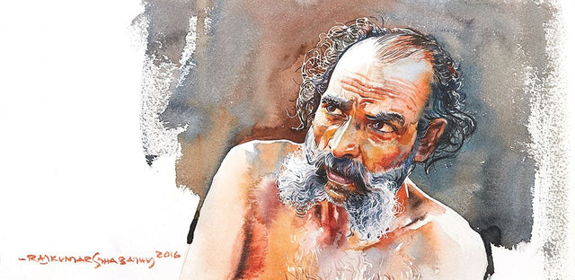 Portrait Series 102|R. Rajkumar Sthabathy- Water Color on Paper, 2016, 7.5 x 15 inches