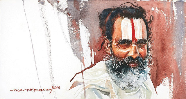 Portrait Series 103|R. Rajkumar Sthabathy- Water Color on Paper, 2016, 7.5 x 15 inches