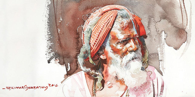 Portrait Series 104|R. Rajkumar Sthabathy- Water Color on Paper, 2016, 7.5 x 15 inches