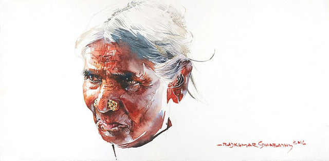 Portrait Series 106|R. Rajkumar Sthabathy- Water Color on Paper, 2016, 7.5 x 15 inches