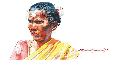 Portrait Series 107|R. Rajkumar Sthabathy- Water Color on Paper, 2016, 7.5 x 15 inches