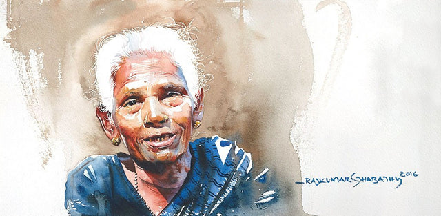 Portrait Series 108|R. Rajkumar Sthabathy- Water Color on Paper, 2016, 7.5 x 15 inches