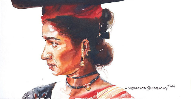 Portrait Series 109|R. Rajkumar Sthabathy- Water Color on Paper, 2016, 7.5 x 15 inches