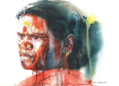 Portrait Series 114|R. Rajkumar Sthabathy- Water Color on Paper, 2004, 22 x 30 inches