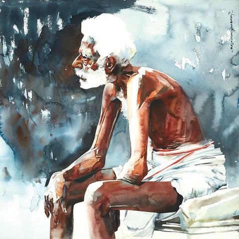 Portrait Series 116|R. Rajkumar Sthabathy- Water Color on Paper, 2013, 23 x 23 inches