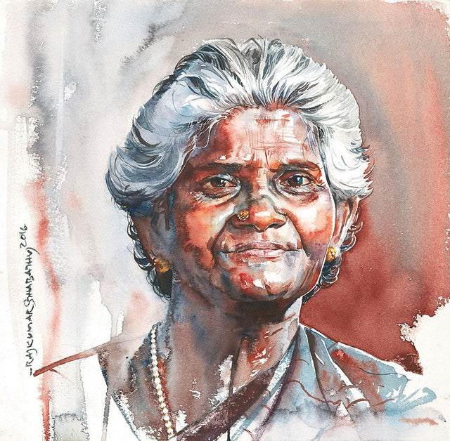 Portrait Series 117|R. Rajkumar Sthabathy- Water Color on Paper, 2016, 11.5 x 11.5 inches