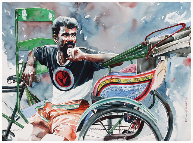 Rickshaw Series 45|R. Rajkumar Sthabathy- Water Color on Paper, 2013, 22 x 30 inches