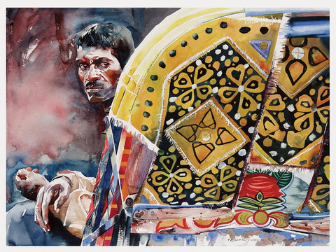 Rickshaw Series 46|R. Rajkumar Sthabathy- Water Color on Paper, 2013, 22 x 30 inches