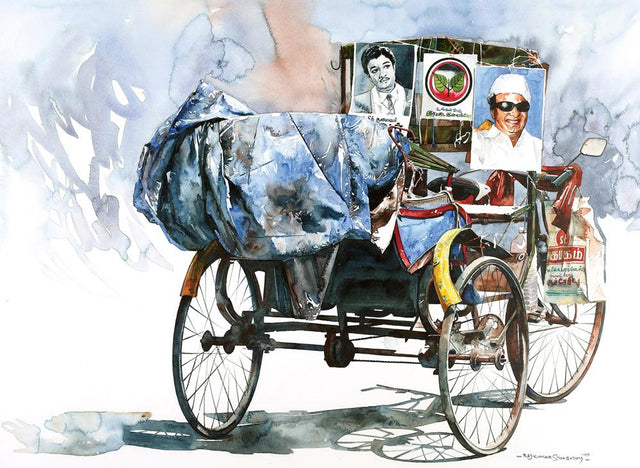 Rickshaw Series 50|R. Rajkumar Sthabathy- Water Color on Paper, 2010, 22 x 30 inches