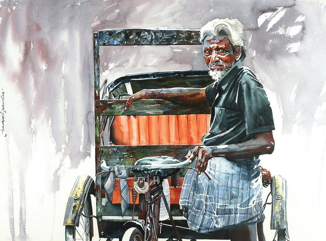 Rickshaw Series 51|R. Rajkumar Sthabathy- Water Color on Paper, 2014, 22 x 30 inches