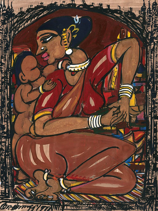 Mother and Child 14|M. Suriyamoorthy- Mixed media on paper, 2009, 14 x 11 inches