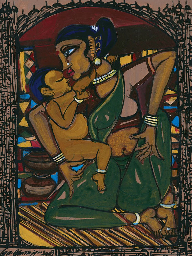 Mother and Child 15|M. Suriyamoorthy- Mixed media on paper, 2009, 14 x 11 inches