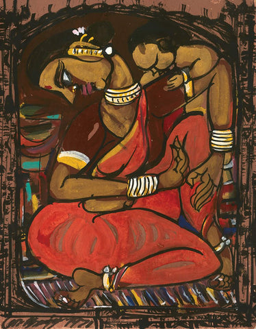 Mother and Child 16|M. Suriyamoorthy- Mixed media on paper, 2009, 14 x 11 inches