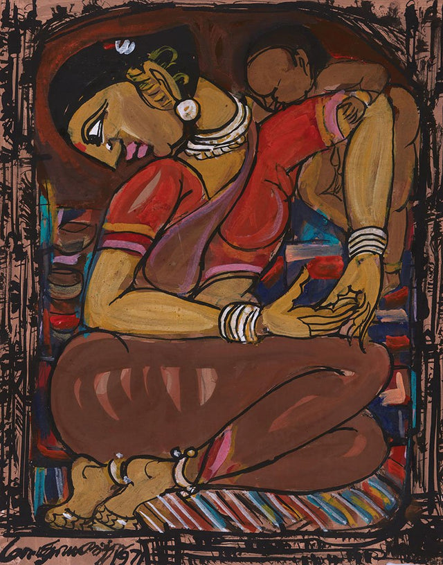 Mother and Child 17|M. Suriyamoorthy- Mixed media on paper, 2009, 14 x 11 inches