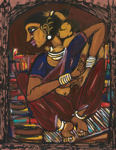 Mother and Child 19|M. Suriyamoorthy- Mixed media on paper, 2009, 14 x 11 inches