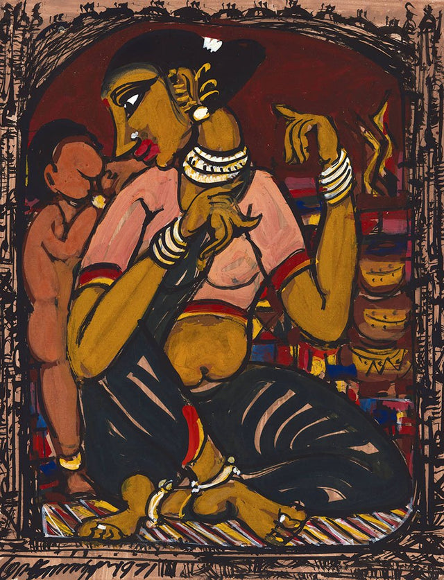 Mother and Child 20|M. Suriyamoorthy- Mixed media on paper, 2009, 14 x 11 inches