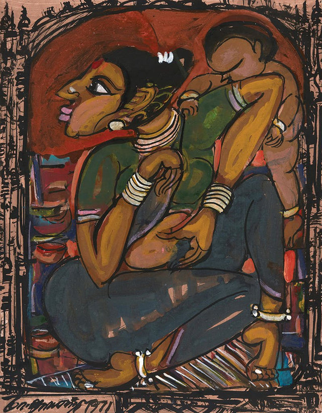 Mother and Child 21|M. Suriyamoorthy- Mixed media on paper, 2009, 14 x 11 inches
