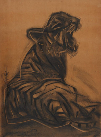 Tiger|S. Mark Rathinaraj- Charcoal on Board, , 25 x 19 inches