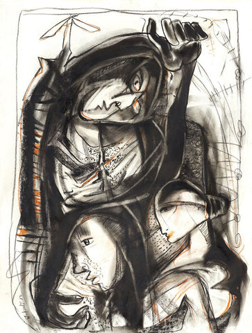 Untitled 41|Tapati Sarkar- Charcoal on Board, 2012, 28 x 22 inches