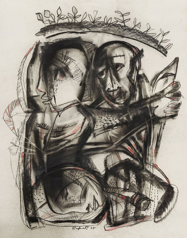 Untitled 43|Tapati Sarkar- Charcoal on Board, 2015, 28 x 22 inches