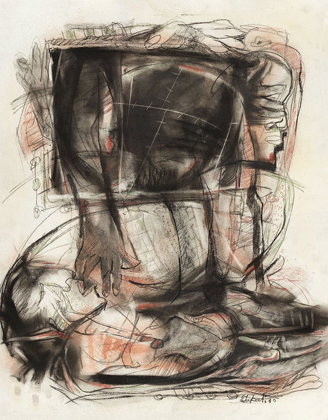 Untitled 46|Tapati Sarkar- Charcoal on Board, 2015, 28 x 22 inches
