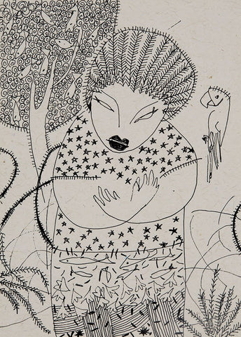 Beside of my Dream 113|A. Vasudevan- Pen and ink on board, 2013, 7 x 5 inches
