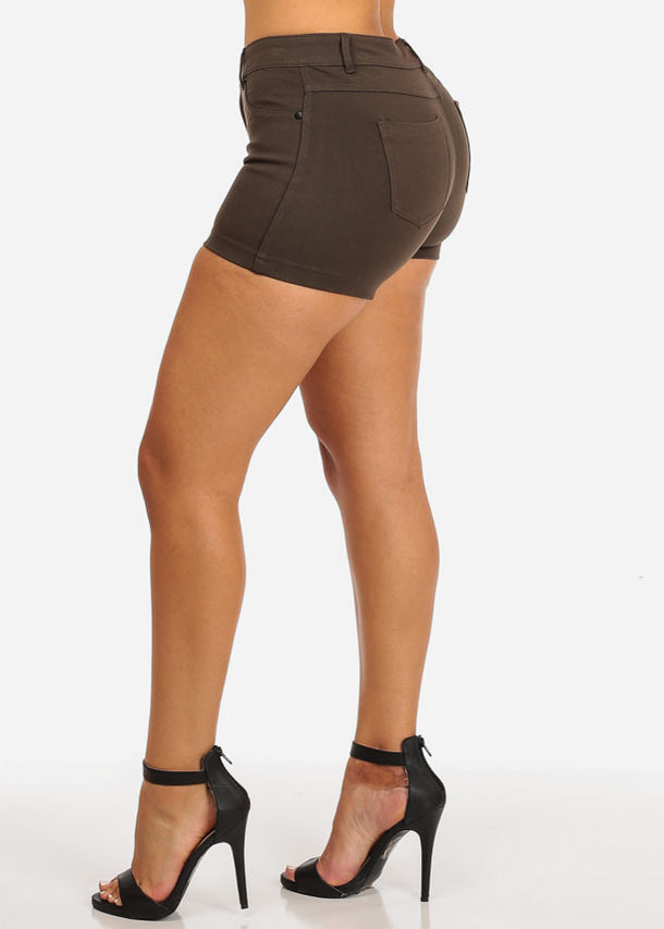 Olive Casual Stretchy Shorty Shorts