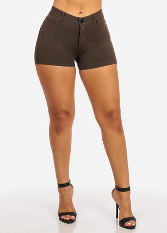 Image of Olive Casual Stretchy Shorty Shorts