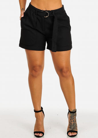 Image of Belt Tie Linen Black Shorts
