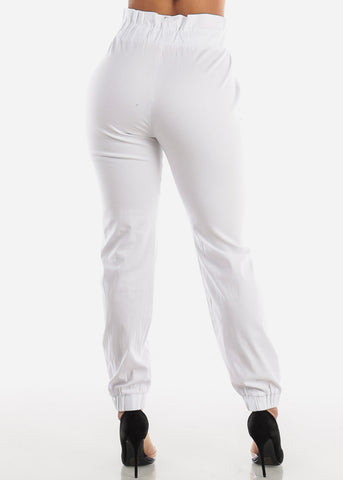 White Paperbag High Rise Jogger Pants