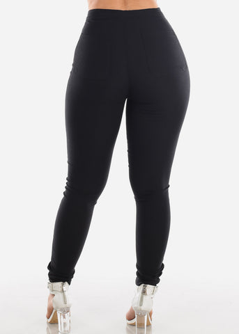 Ultra High Waisted Black Super Stretchy Jegging Skinny Pants