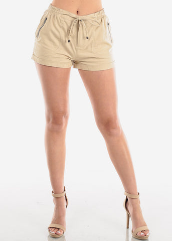Image of Women's Junior Ladies Casual Cute Going Out Beach Vacation High Waisted Khaki Linen Shorts