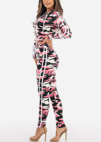 Image of Pink Camouflage Top & Pants (2 PCE SET)