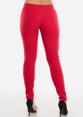 Image of V-Waistline Red Skinny Pants
