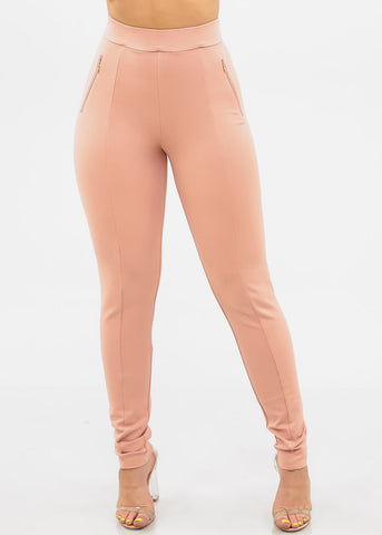 Women's Junior Ladies Sexy Dressy Must Have Going Out Casual Clubwear Night Out High Rise Zipper Detail Tummy Control Light Mauve Skinny Pants
