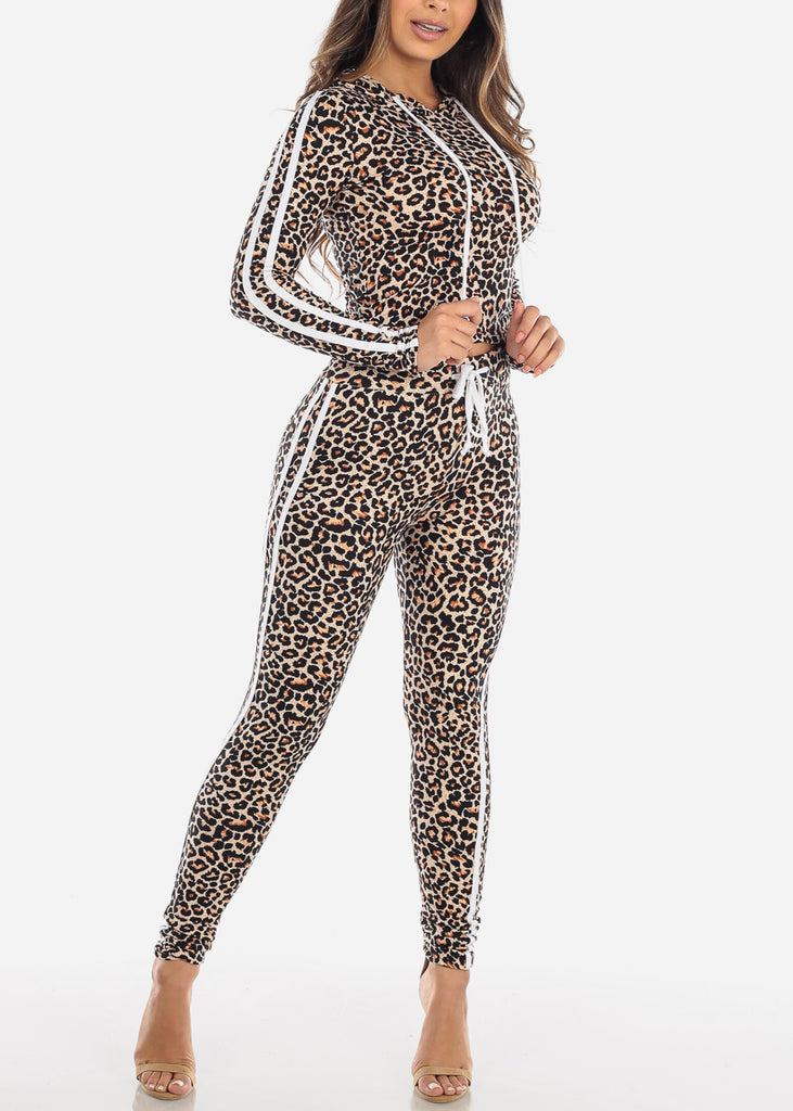 cheap Black Animal Print Top & Pants