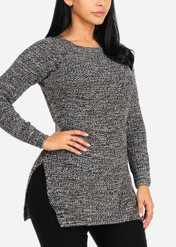 Dark Grey Knitted Long Sleeve Round Neckline Slit Sides Cozy Sweater Top