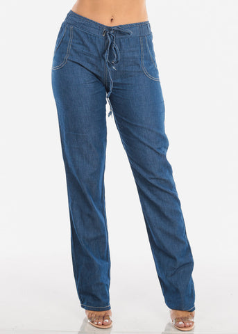 Image of Lightweight Drawstring Jeans