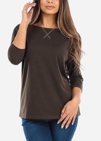 Three Quarter Sleeve Olive Shirt