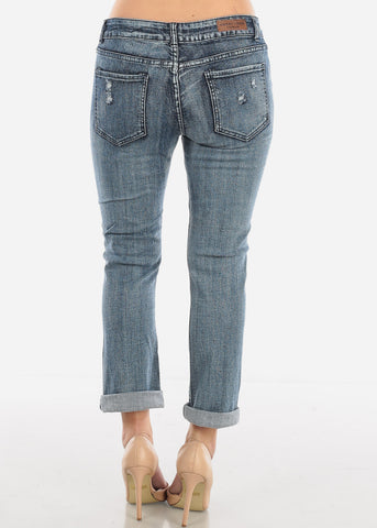 Image of Acid Wash Ripped Boyfriend Jeans