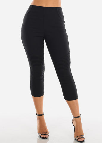 Image of Super Stretchy High  Rise Moto Style Solid Black Jegging Capris For Women Ladies Junior On Sale 2019 New Miami Style Trends