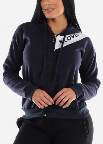 "Image of Long Sleeve Navy Hoodie ""Love"""