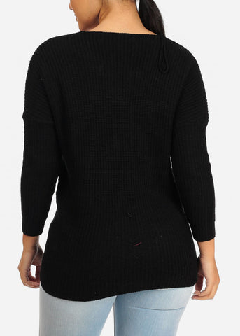 Cozy Knitted  Black V neck Sweater