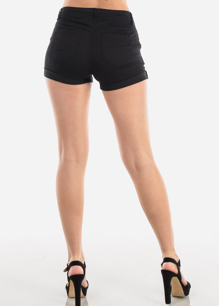Trendy Lace Up Black Shorts