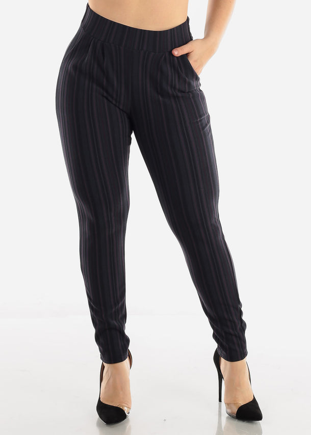 Charcoal & Purple Stripe Pants