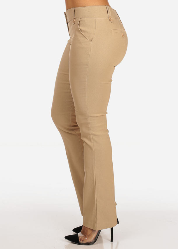 Mid Rise Taupe Dress Pants